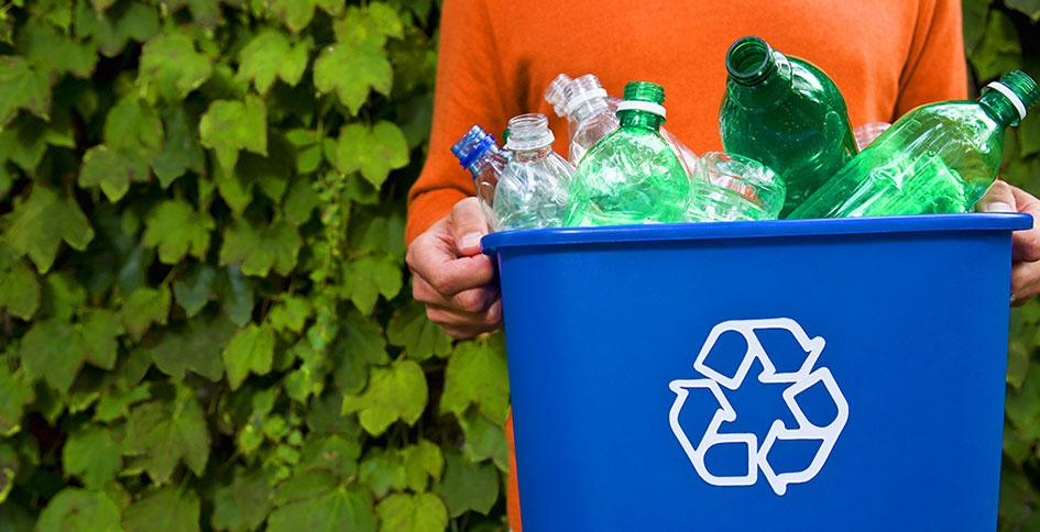 Full bin from recycling program at 3350 at Alterr